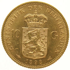 The Netherlands – 10 guilder coin, 1898 (S), Wilhelmina, gold