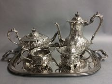 Antique silver plated tea and coffee set on a serving tray, Cavalier, England, ca. 1880