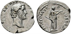 Roman Empire - Antoninus Pius (138 - 161 A.D.), silver denarius (3,72 grs. 18 mm), minted in Rome. 138 A.D. AVG PIVS PM TRP COS DES II. Diana