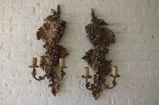 Pair of gilded fruit tree wood wall lamps in the shape of grape vines, France, early 20th century