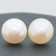 Earrings in 18 kt Gold with Cultured Peach Pearls — 12 mm