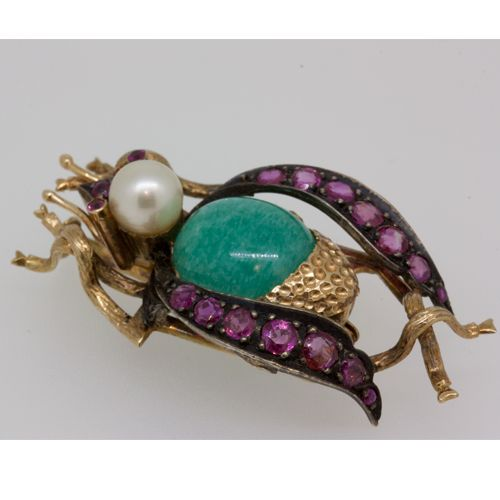 Modernist bee brooch, with turquoise, rubies and cultured pearl.