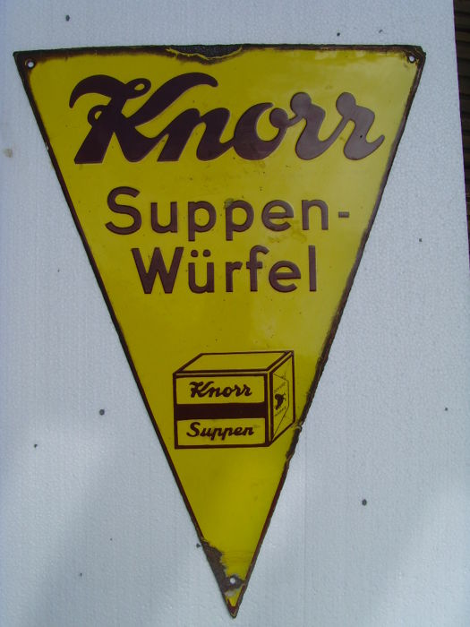 Knorr Suppenwürfel - enamel sign - original, 1930s