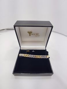18ct Yellow & White Gold Gents Curb Bracelet - 21cm