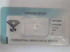 1.01ct IGI Emerald Cut G VS2 - Low Reserve Price - # 2071