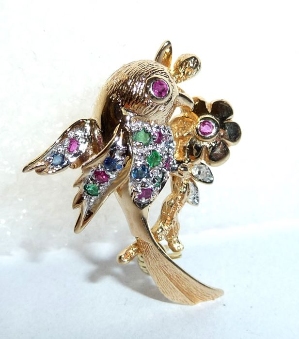 Brooch/pendant made of 14 kt / 585 gold, bird on flower with ruby, emerald, sapphire and diamond