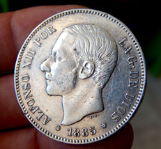 Spain – Alfonso XII – 5 pesetas silver coin – Years: 1885 * 18-87 MSM