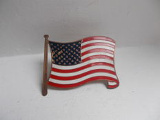 vintage  USA STARS AND STRIPES  FLAG  brass and enamel car badge and fixings original rare