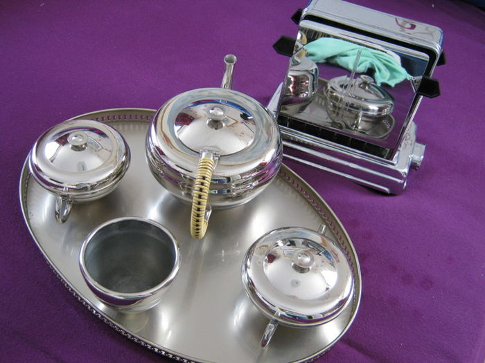 Vintage Nickel tea set Plus a Vintage Art Deco Chrome toaster