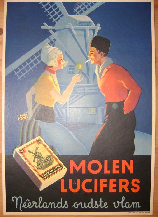 Molen Lucifers advertising sign - Toonder, Marten (of Tom Poes) - 55 match and packet labels - Panda (1957/1966) and 2 complete printed sheets