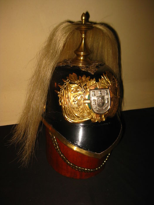 Antique Portugal Portuguese GNR national guard cavalry pickelhaube pike helmet casque 1940s