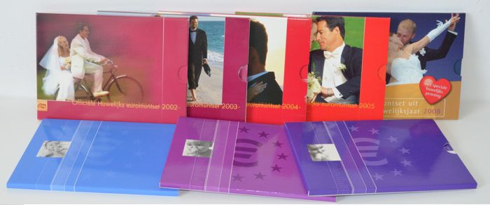 The Netherlands - Year packs 2002-2008, 'Birth sets and Marriage sets' (8 different)