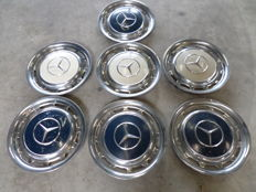 7 Mercedes Hubcaps - Blue and white  -  Diameter circa 39 cm - 15 inches