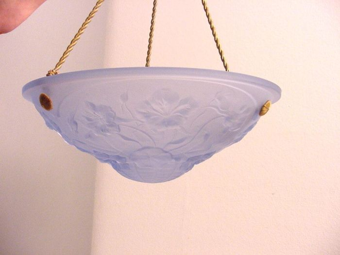 blue glass Art Deco ceiling lamp