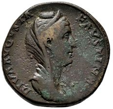 Roman Empire - Diva Faustina I (Died 140/1), bronze sestertius (26,79 g 32 mm.), after 141 A.D. Rome mint. PIETAS AVG. S-C.