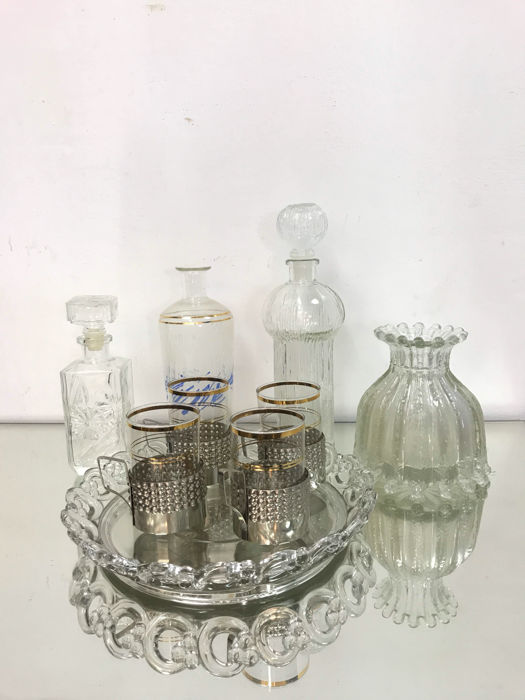 Polish set of beautiful glass tableware