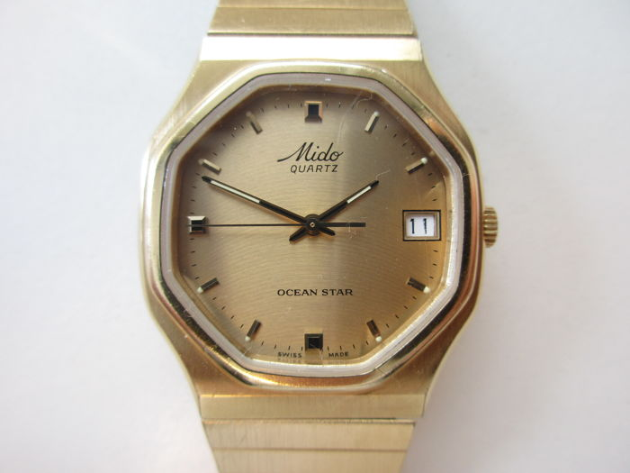 "Mido ""Ocean star"" – gold-plated steel  – men's wristwatch – 1980s"