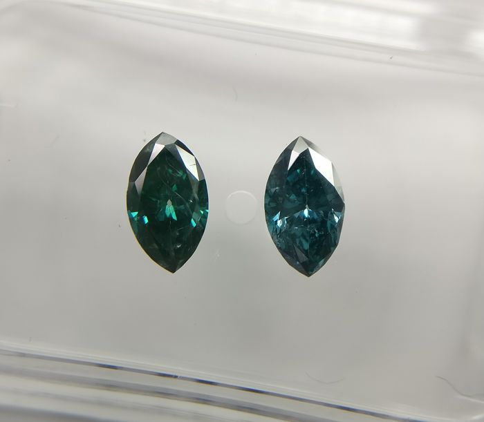 Lot of 2 Marquise cut diamonds total 0.72 ct Fancy Dark Greenish Blue SI2