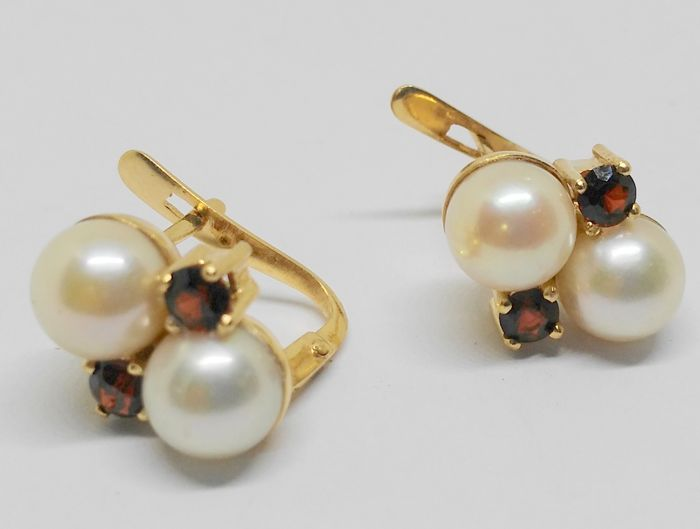 Pair of 18 kt gold earrings with pearls and garnets