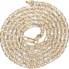 14 kt bicolour gold curb link necklace – 62 cm