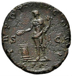 Roman Empire - Antoninus Pius (138 - 161 A.D.) bronze as (10,00 g, 27 mm.). Rome mint, 139 A.D. TR POT - COS II / G. P. R. in exergue. Genius. Rare.