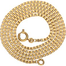 18 kt Yellow gold, Venetian link necklace - Length: 46 cm.