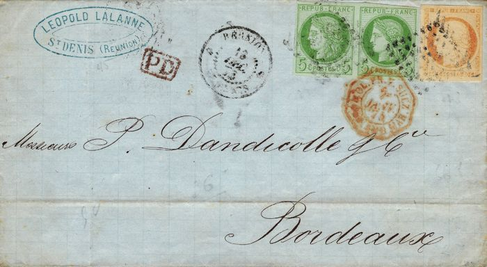 France 1873 - General Colonies Cérès 5 cents green and 40 cents orange on letter from Saint Denis de la Reunion - Yvert no. 13 and 17