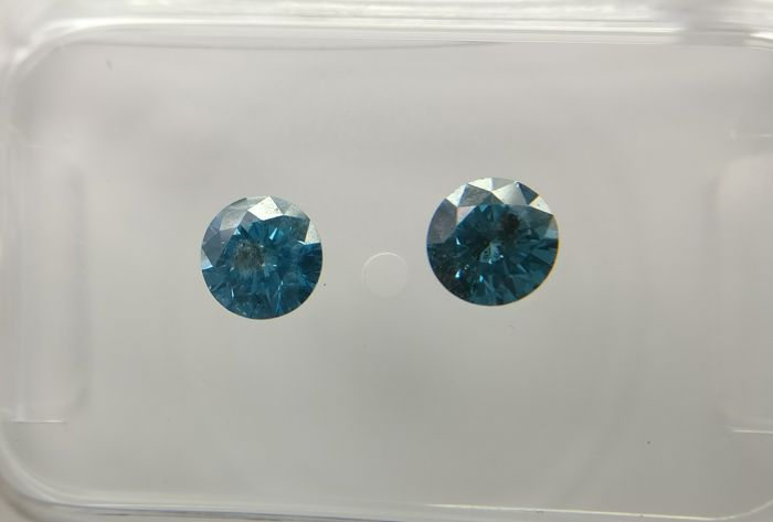 Lot of 2 Round cut diamonds total 0.51 ct Fancy Deep Greenish Blue SI3-I1