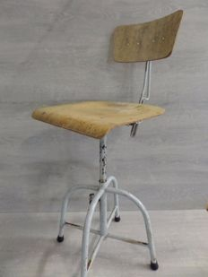 Producer unknown - steel and wooden industrial work chair / stool