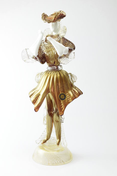 "Paolo Rubelli (Rubelli glassworks) - collectable sculpture ""gold leaf knight"""