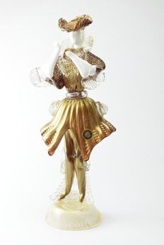 """Paolo Rubelli (Rubelli glassworks) - collectable sculpture """"gold leaf knight"""""""