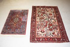 2 Persian carpets, Hamadan/Iran – Previous century, ca. 1950-1970 – 128 x 80 cm – 100 x 55 cm – With certificate of authenticity