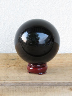 Large Black Obsidian Sphere with stand - 10 cm - 1270 gm