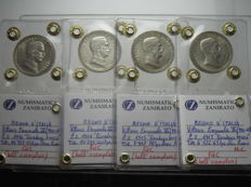 Kingdom of Italy – 2 Lire 1914, 1915, 1916 and 1917 'Quadriga Briosa' – silver