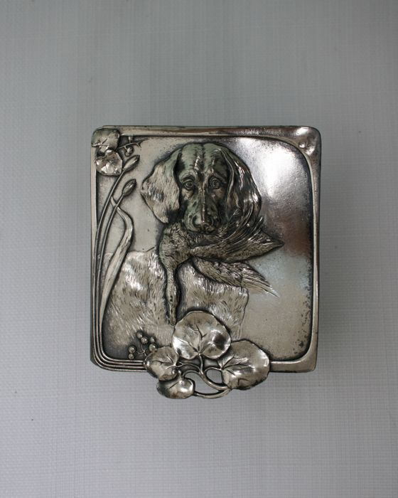 Art Nouveau Crystal/Silver plated jewellery box with the lid depicting hunting scenery.