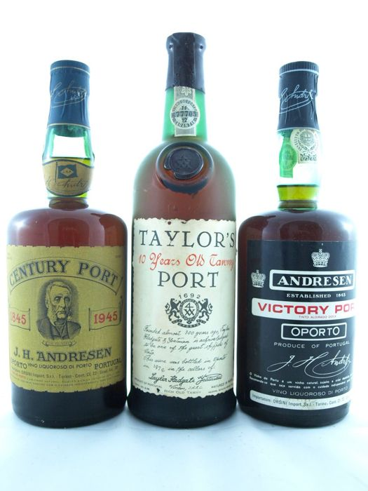 Taylor's 10 Years Old Tawny (bottled in 1979) & J.H. Andresen Century Port 1845-1945 & J.H. Andresen Victory Port - 3 bottles total