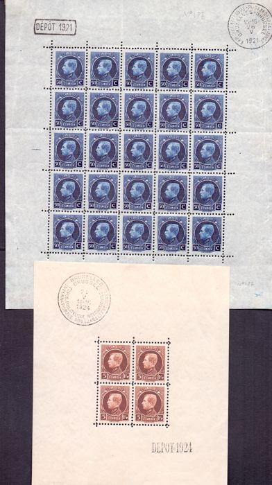 "Belgium 1921/1924 - sheetlet of 25 and block Albert I ""Montenez"" - OBP F187 and BL1"