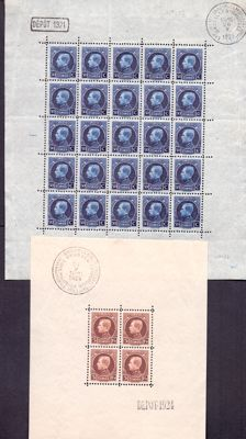 """Belgium 1921/1924 - sheetlet of 25 and block Albert I """"Montenez"""" - OBP F187 and BL1"""