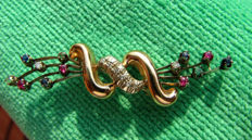 Floral brooch in 18 kt white and yellow gold with Diamonds and precious stones