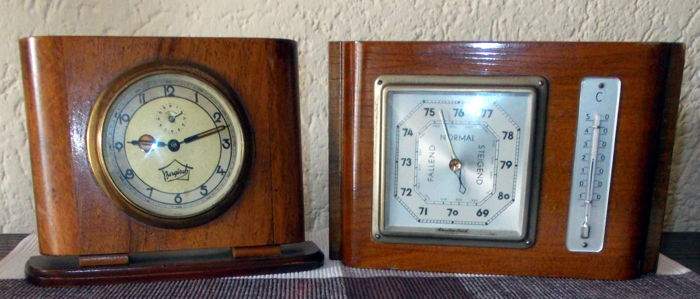 "Art Deco period weather station Emil Scholz ""Spezialwerk"" and table clock ""Bergisch"""