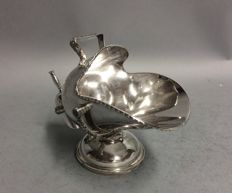 Silver plated sugar bowl with scoop in the shape of a scuttle, Winchester Plate, England, ca. 1920