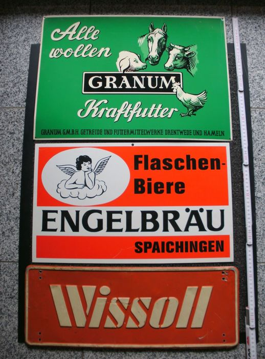 3 advertising signs - Granum Kraftfutter/Engelbräu Flaschenbiere/Wissoll chocolate - Germany ca. 1950/60