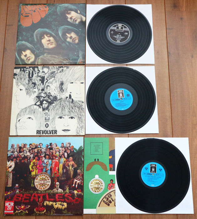 The Beatles- Great lot of 3 classics, all original releases/ various pressings: Rubber Soul (early UK issue w. 2 EMI logo's)/ Revolver (early German release)/ Sgt. Pepper's (early German release with flipback gatefold + cut-outs insert!)