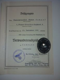 Wounded badge black with certificate