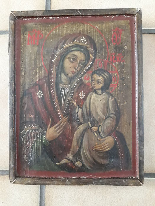 Coptic Icon - The Virgin Mary with the Christ child - late 19th/early 20th century