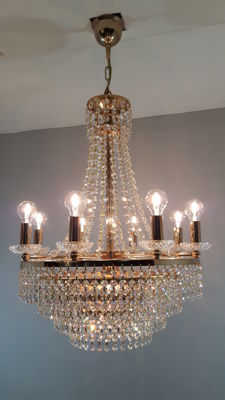 Very stylish chandelier with cut crystals, second half of the 20th century, the Netherlands