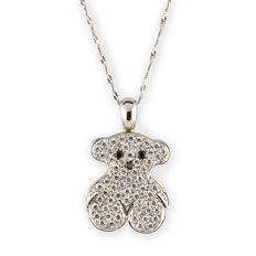750/1,000 (18 kt) white gold – Tous – Choker with white gold pendant – Various stones – Chain 42 cm
