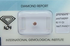 Natural Fancy Pinkish Brown Diamond 0.11 ct  with IGI cert *** no minimum price***