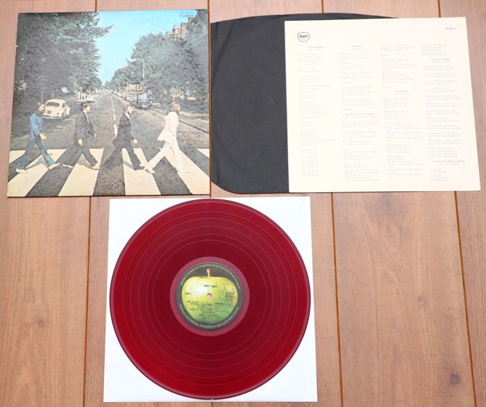 The Beatles- Abbey Road lp/ 1st Japanese pressing, 1969, RED wax, w. lyric sheet & original black inner/ VG++