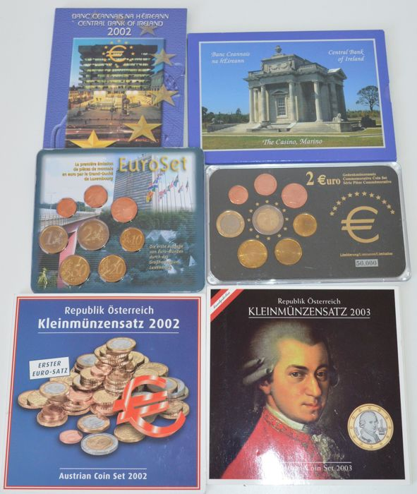 Ireland/Luxembourg/Austria - Year packs 2002, 2003 and 2006 (6 coin sets)